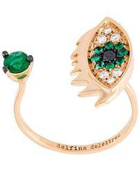 Delfina Delettrez - 'eyes On Me Piercing' Diamond And Emerald Ring - Lyst