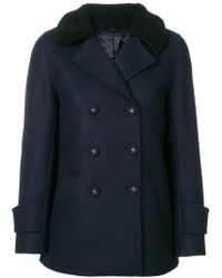 Officine Generale - Textured Collar Double Breasted Coat - Lyst