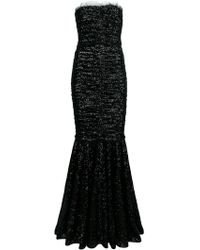 162bc6d14c Nina Ricci Sequins and Lace Techno Satin Long Dress in Black - Lyst
