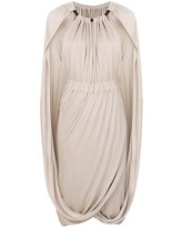 Alberta Ferretti - Ruched Cape Dress - Lyst