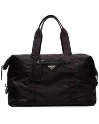 Prada - Black Logo Weekender Bag - Lyst
