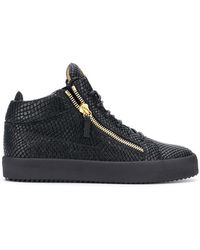 87441dbd378 Lyst - Balmain Black Faust Fabric And Leather Suede Effect High Top ...