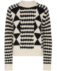 Saint Laurent - Boxy Graphic Knit Jumper - Lyst
