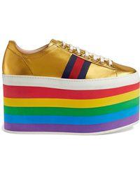 Gucci - Metallic Platform Sneaker - Lyst