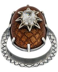 Bottega Veneta - Brown Antique Silver Stellular Ring - Lyst