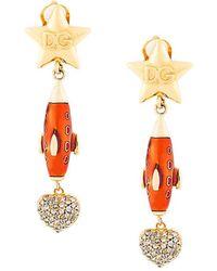 Dolce & Gabbana - Crystal Embellished Drop Earrings - Lyst