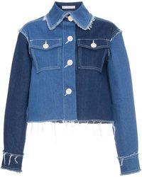 Rejina Pyo - Cropped Patchwork Denim Jacket With Raw Hems - Lyst