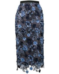 Antonio Marras - Floral Embroidered Pencil Skirt - Lyst