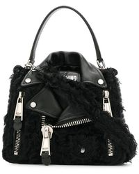 Moschino - Shearling Detailed Biker Bag - Lyst