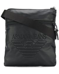 0b8d5272a4a4 Armani Jeans - Embossed Logo Messenger Bag - Lyst