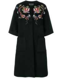 Etro - Embroidered Collarless Coat - Lyst