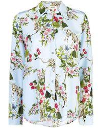 L'Agence - Nina Cheetah & Floral Print Silk Blouse - Lyst