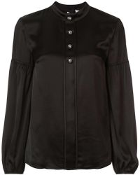10 Crosby Derek Lam - Long Sleeve Band Collar Blouse With Buttons - Lyst