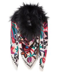 Fendi - Touch Of Fur Shawl - Lyst