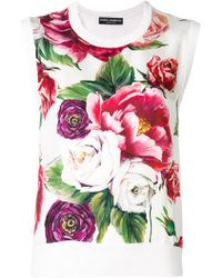 Dolce & Gabbana - Peony Print Tank Top - Lyst