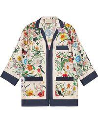 Gucci - Flora Silk Twill Shirt - Lyst
