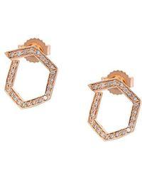 Eva Fehren - 14kt Rose Gold Hexagon Diamond Studs - Lyst