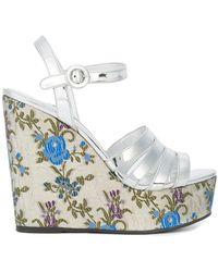 Prada - Floral Print Wedge Sandals - Lyst