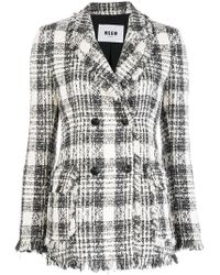 MSGM - Double-breasted Tweed Jacket - Lyst
