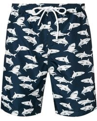 Paul & Shark - Sharks print swim shorts - Lyst