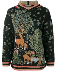 Alberta Ferretti - Embroidered Oversized Sweater - Lyst
