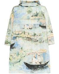 Off-White c/o Virgil Abloh Printed Hooded Cape Coat