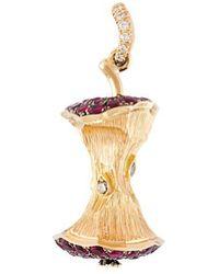 Aurelie Bidermann - 'big Apple' Diamond And Ruby Pendant - Lyst