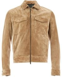 AJMONE - Collared Suede Jacket - Lyst