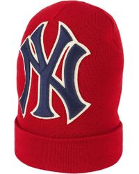 Gucci - Red Ny Yankees Embroidered Wool Hat - Lyst