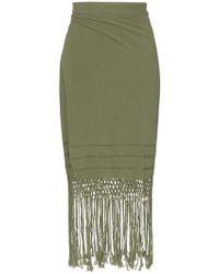 Caravana - Imix Fringed Cotton Midi Skirt - Lyst