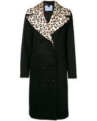 Blumarine - Leopard Print Collar Double Breasted Coat - Lyst