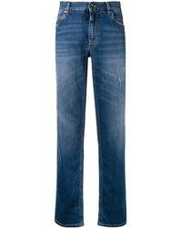 Dolce & Gabbana - Gerade Jeans mit aufgesticktem Logo - Lyst