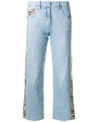Blumarine - Snakeskin Effect Stripe Cropped Jeans - Lyst