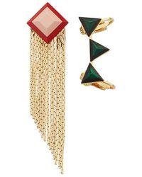 Fendi - Geometric Asymmetric Earrings - Lyst