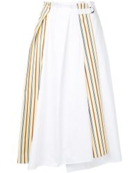 Jil Sander Navy - Side Stripe Paperbag Midi Skirt - Lyst