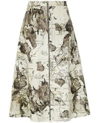 Andrea Marques - Maps Print Skirt - Lyst