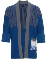 Curieux - Blue Cashmere Intarsia Knit Kimono - Lyst