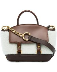 Sacai - Leather And Shearling Crossbody Bag - Lyst