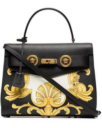 Versace - Black, White And Yellow Barocco Print Icon Leather Bag - Lyst
