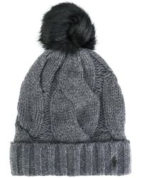 1eced3daed9 Polo Ralph Lauren - Cable Knit Bobble Hat - Lyst