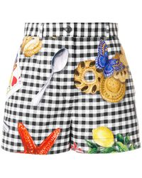 Dolce & Gabbana - Chequered Print Shorts With Motif Prints - Lyst