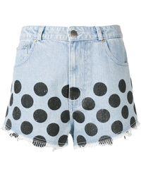 House of Holland Polka-dot Denim Shorts - Blue