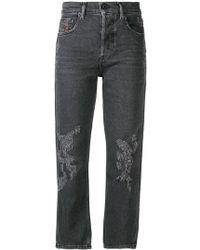 DIESEL - Cropped Slim Fit Jeans - Lyst