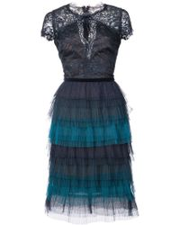 Marchesa notte - Tiered Lace Dress - Lyst