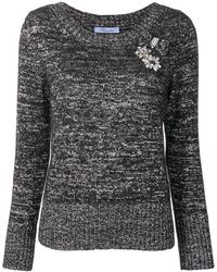 Blumarine - Embroidered Fitted Jumper - Lyst