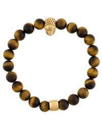 Northskull - Tiger Eye Skull Bracelet - Lyst