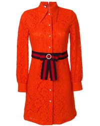 Gucci - Cluny Lace Dress With Web Waistband - Lyst