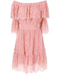 Perseverance London - Bardot Lace Dress - Lyst