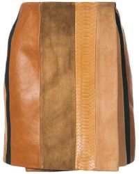 Adam Lippes - Patchwork Leather Mini Skirt - Lyst