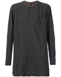 Ziggy Chen - Collarless Striped Shirt - Lyst